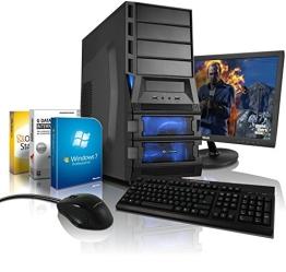 """Komplett-PC Gaming-PC Quad-Core AMD FX-4130 4x3.9GHz Turbo, 22"""" Full-HD LED Bildschirm, Tastatur/Maus, Windows 7 Prof 64bit, AMD Radeon HD 7750 1GB DDR5, 1TB HDD, 8GB RAM, #4920 - 1"""